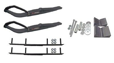 "C&A Pro Black Razor Snowmobile Skis w/ 6"" Round Bars Complete Kit"