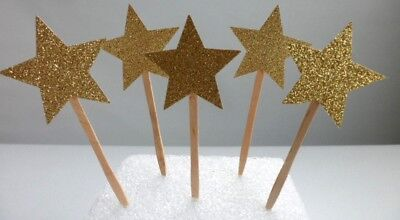 Twinkle Twinkle Little Star Cupcake Toppers, Cake Decor , Glitter  SET OF 12
