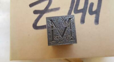 Alphabets Letterpress Print Type Paragraph Monogram 60pt Ornamental M  Z144 1
