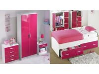 Brand New Carleton Single Bed + High Gloss 3 Piece Wardrobe Drawers Bedside Cabinet Bedroom Set Pink
