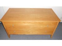 Sturdy Oak Chest of Two Drawers, Trunk, TV Table