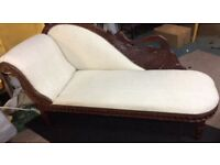 Reupholstered chaise lounge in Laura Ashley