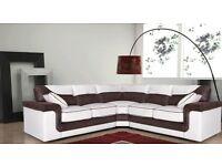 Ex Display Brown/Beige Corner Sofa. Free Delivery Up To 25 Miles. RRP £899