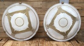 Two Honsel Leuchten Wall lights / wall sconces wall mounted round frosted glass 250v