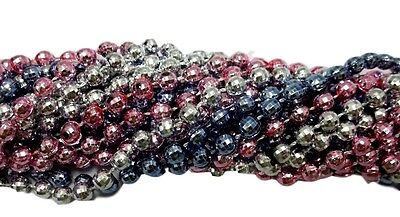 36 Baby Shower Mardi Gras Beads Necklaces Pink Silver Lt Blue 3 Doz Disco - Pink And Blue Mardi Gras Beads