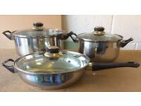 Set of 3 cooking pots & frying pan with lids, stainless steel 3-layer base, new unused.
