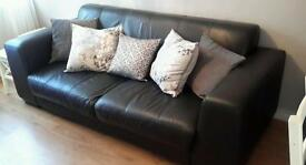3 Seated Black Leather Sofa