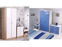 3 PC High Gloss Fronts Bedroom Set Wardrobe Chest Bedside Cabinet Oak/White White/Blue
