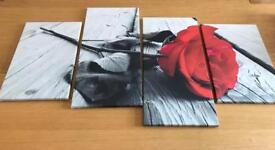 Black and red rose split canvas