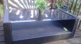 Blk rattan 4ft garden table