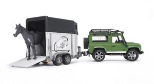 New Bruder Land Rover Defender Station Wagon with Horse Trailer And 1 Horse