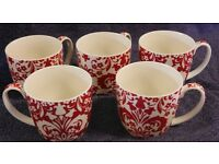 Johnson Brothers Large Mugs - 5 Red and White