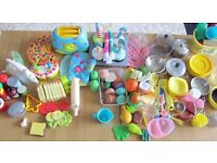 Large bundle kitchen/house play items include Melissa and Doug Wooden Cupcake Bake & Decorate Set