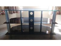 Living 3-Tier Black Tempered Glass with Stainless Steel Legs TV Stand