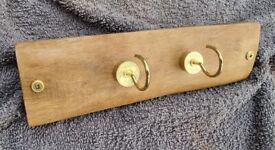 Handmade Rustic Sal Wood Twin Cartridge Case Hook KEY HOLDER / HANGER