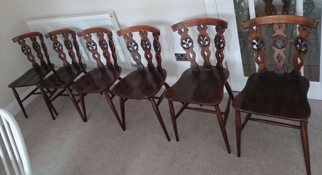 Vintage Retro Set Of 6 Ercol Fleur De Lys Dining Chairs Solid Elm