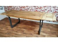 Extendable Hardwood Rustic Industrial Dining Table - Seats up to Twelve
