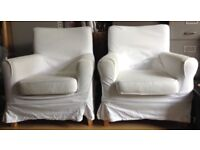 IKEA White Jennylund Armchairs x2