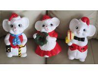 "Set of 3, pretty CERAMIC CHRISTMAS ORNAMENTS/FIGURES, 7"" high, white holding festive items gc"