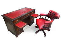 Spectacular Antique Reproduction Red Leather Top Pedestal Desk