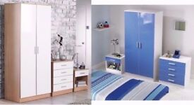 BRAND NEW High Gloss Bedroom 2 door wardrobe Furniture Set (**Many colours* See gallery)