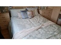 Double Waterbed Mattress complete with Pine frame with six Drawers