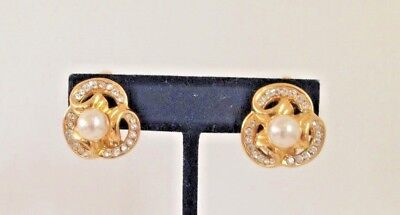 Vintage Gold Tone Crystal Rhinestone and Faux Pearl CLIP ON Earrings