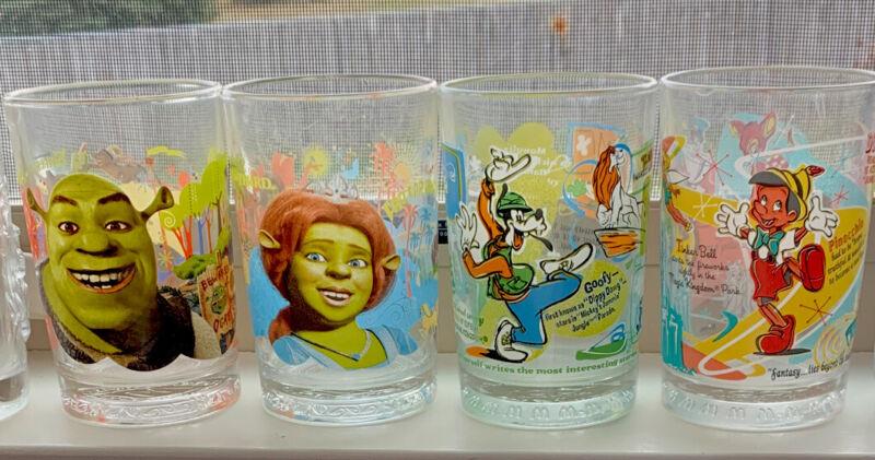 SHREK Glasses from McDonald's- Dreamworks 2007 Set of 4 Mint Condition!