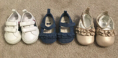 3 Pair Shoes Infant Baby Girl Size 3-6 Months Gently Used/Good Condition!