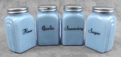 DELPHITE BLUE GLASS 4 PC ARCH SPICE JAR SHAKER SET Flour Garlic Sugar Seasoning Spice Jar-shaker