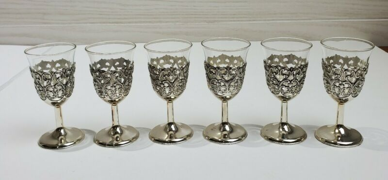 Set 6 Vintage Silver Cordial Stemware Goblets w/ Glass Inserts - Made in Japan