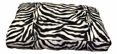 Zebra- black white velboa Dog Bed - Cat Mat - Soft Padded hypo-allergenic Insert