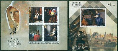 Kunst Johannes Vermeer Gemälde Mittelalter Niederlande Gabun MNH Stempelset ()
