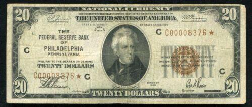 FR. 1870-C* 1929 $20 *STAR* FRBN FEDERAL RESERVE BANK NOTE PHILADELPHIA, PA VF