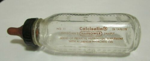 Miniature Glass Evenflo Calcisalin Physicians Sample Baby Bottle Made in USA