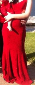 Long red lacy prom dress