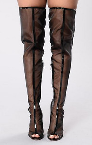 Thigh High Black Mesh Perspex Boots size 8.5