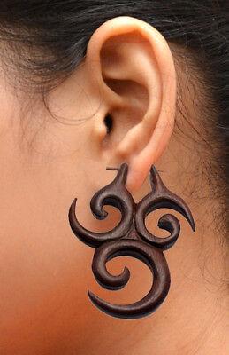 Designer Wood Earrings - Tibetan Tribal Handmade Brown Wooden African Design Wood Stick Earrings EAR1240