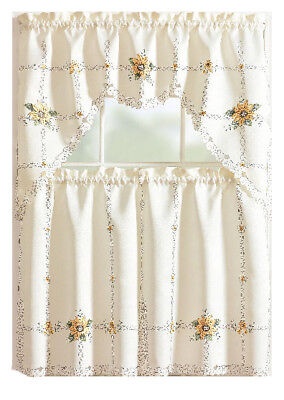 Embroidered Sunflowers Complete Kitchen Curtain Tier & Swag Set