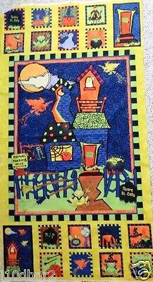 Halloween Fabric Panel Halloween Delight Fabric Cats & Pumpkins Wilmington Print