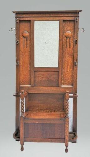 Antique Arts & Crafts / Mission Oak HALL SEAT / HALL TREE STAND & Mirror LA Area