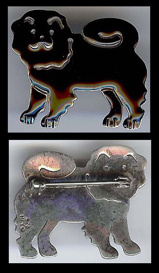ANNE & JANE HARVEY STERLING SILVER BLACK ENAMEL CHOW DOG PIN