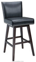 Clearance SALE 3 Swivel Kitchen Counter Stools in Black Leather