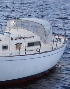 Sailboat dodger with frame.