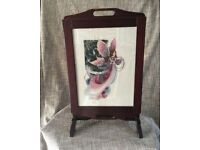 Antique Folding Table/Fire Screen with Cross-Stitch