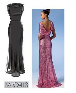 Mccalls 7047 sew pattern draped back cowl neckline gown for Cowl neck wedding dress pattern