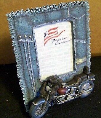 vintage cast motorcyle frame denim fringe look