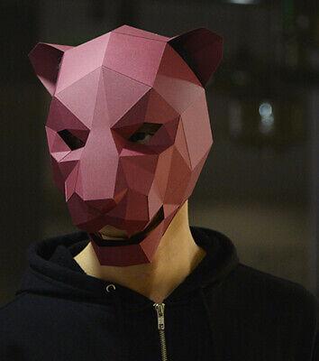 Animal Jaguar Leopard 3D DIY Paper Card Craft Head Mask Cosplay Costume Prop