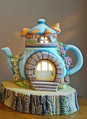 Ceramic Bisque Ready to Paint Lighted Charming Fairy Cottage on log slice base