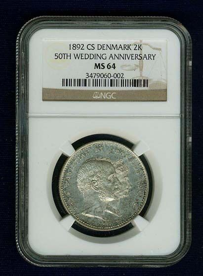 DENMARK 1892-CS  2 KRONER SILVER COIN, CERTIFIED NGC MS64, MINT STATE!